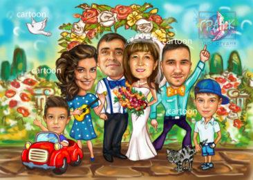 Заказать шарж по фото на годовщину свадьбы во Владимире