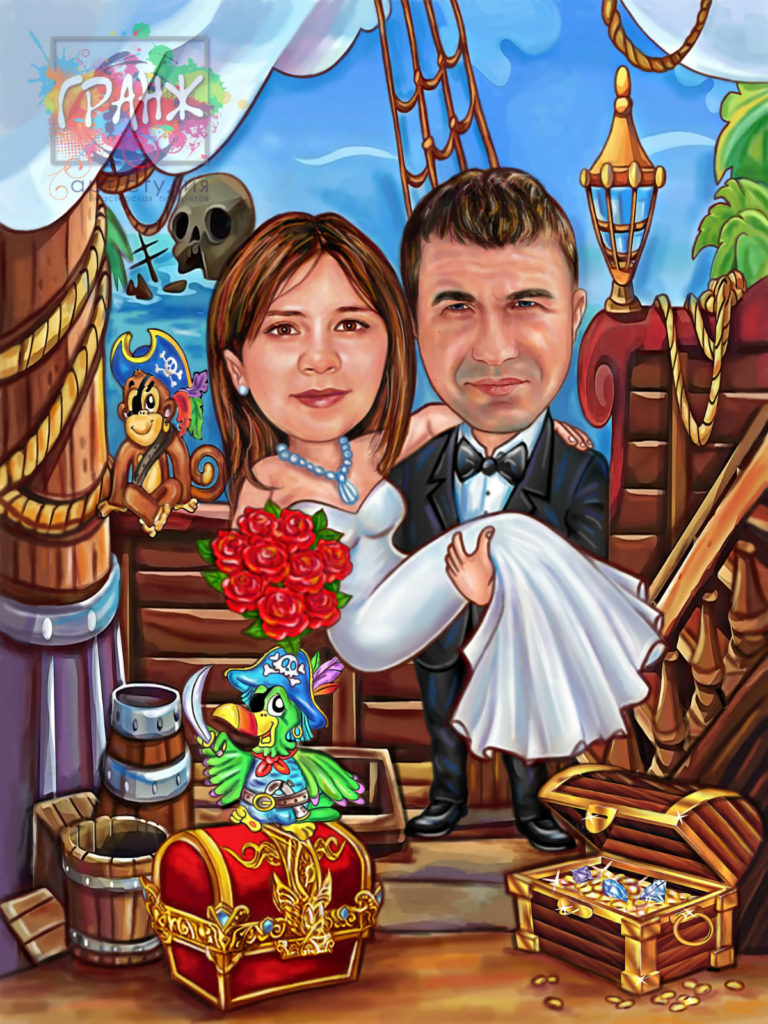 Шарж по фото на свадьбу во Владимире